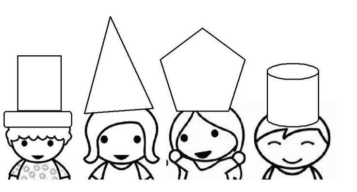 dit afdrukken en lamineren, daarna de hoeden appart in verschillende kleuren afdrukken, zo moeten de kleuters de juiste vorm hoed zoeken. je kan dan ook met opdrachtkaarten werken qua kleur