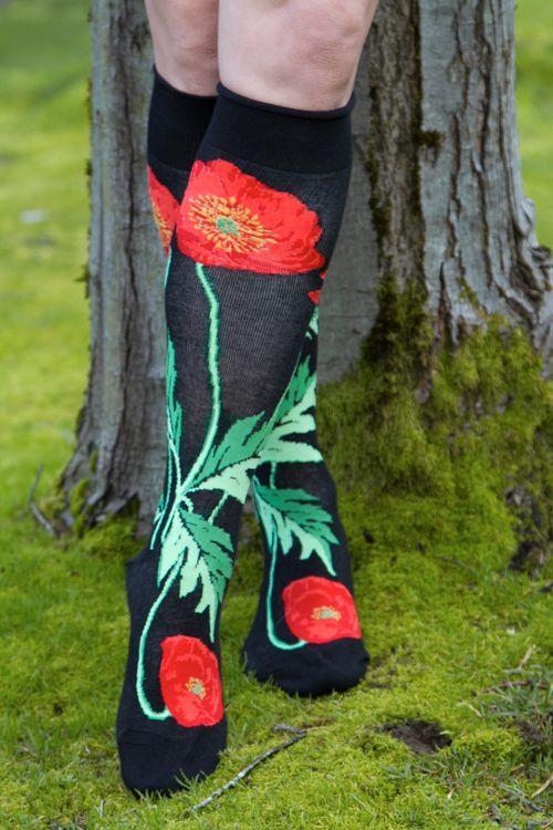 Bold Poppies Knee High (Black)