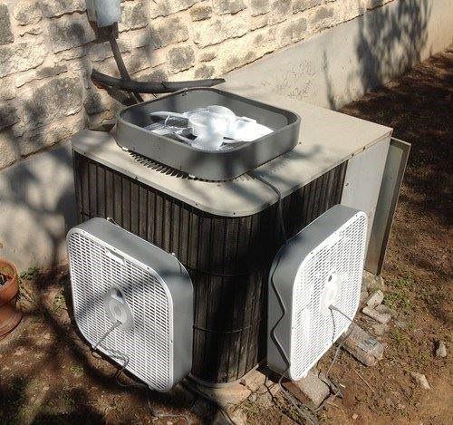 Box fan - http://www.hvac-hacks.com/box-fan-3/