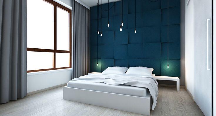 Wizualizacja. Panele Cube w sypialni. Projekt Digital Pigment.