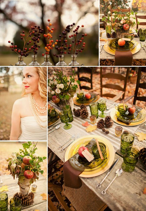 Autumn Wedding inspiration: I am doing this but with all Amber glass