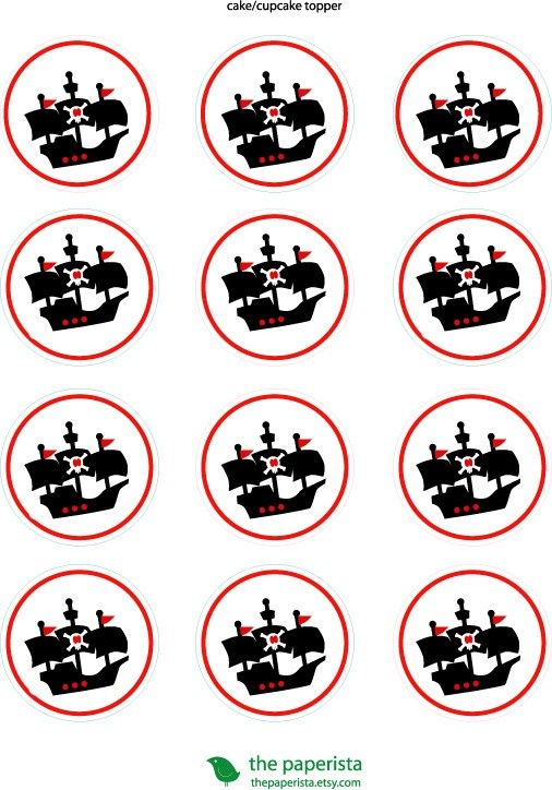 Printable Cupcake Topper \/Gift Tags Pirate Birthday
