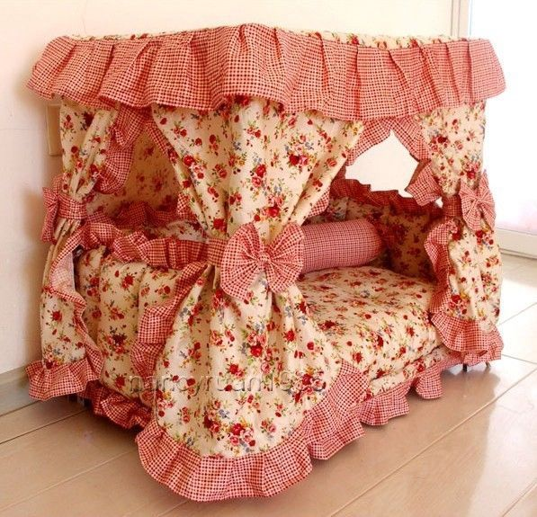 New Pastoral Princess Pet Dog Cat Handmade Bed House Red+Pillow S,M  #other