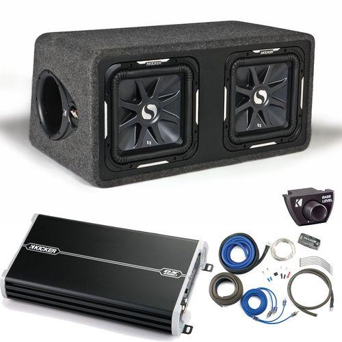"""Kicker 11DS12L72 Solobaric Dual 12"""""""" Box with 1500 Watt Kicker Amp,Kit,Bass Knob"""