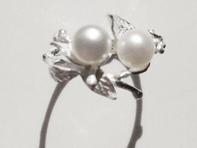 Leaves 2  Pearl Ring