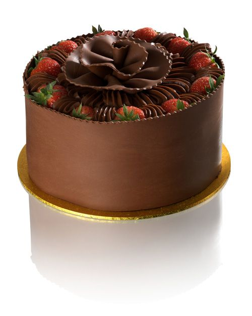 Chocolate, Strawberry and Banana Gateau - Chocolate sponge layers filled with Belgian chocolate cream, fresh strawberries, fresh cream and Bananas. Decorated with Belgian chocolate and fresh strawberries