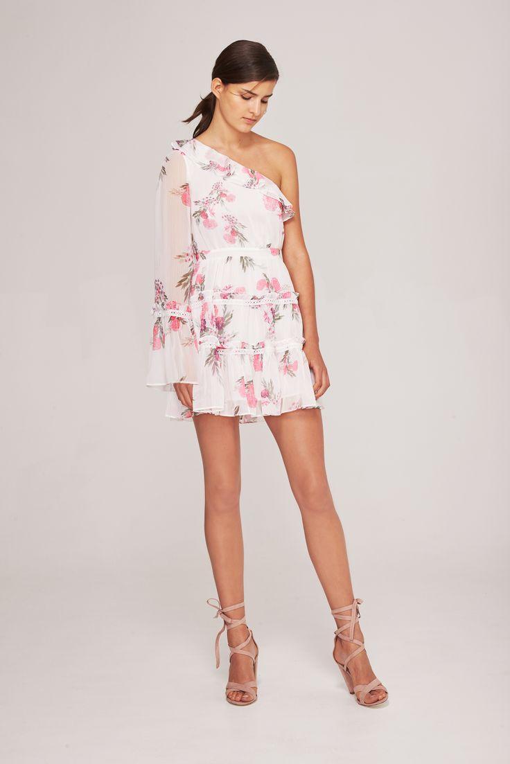 Steele - Botanica One Shoulder Mini Dress - Blanc