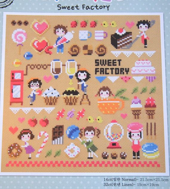 Modern cross stitch patterns and kits - Sweet factory, sweets motifs, candies motifs, candies samplers, food samplers, counted cross stitch