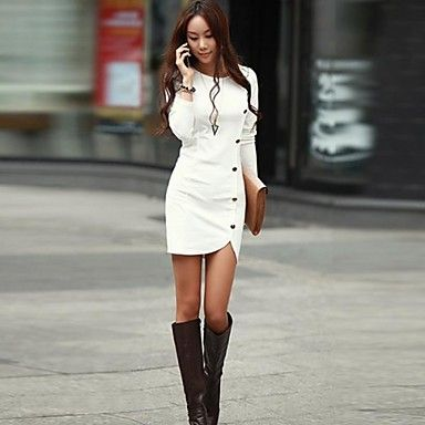 Nuo wei si ® Women's Fashion Round Collar Solid Color Long Sleeve Bodycon Dress - USD $ 33.30