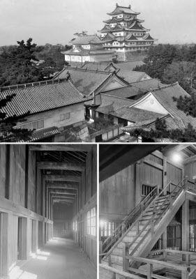 焼失前の名古屋城外観と内部(名古屋城総合事務所提供)