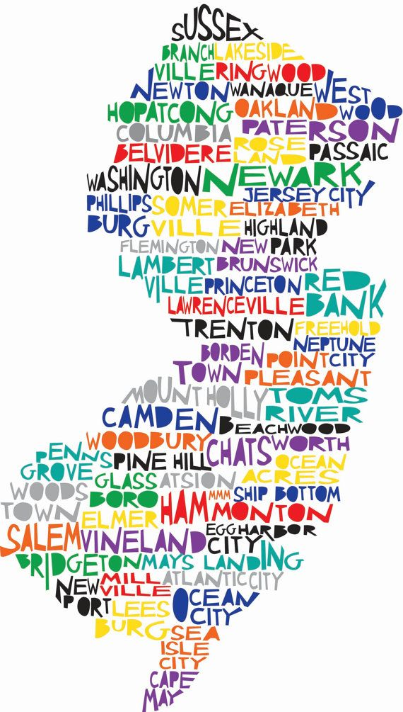 This is a print of an original illustration that was then digitally colored. It features over 60 cities in New Jersey with the major ones as well as