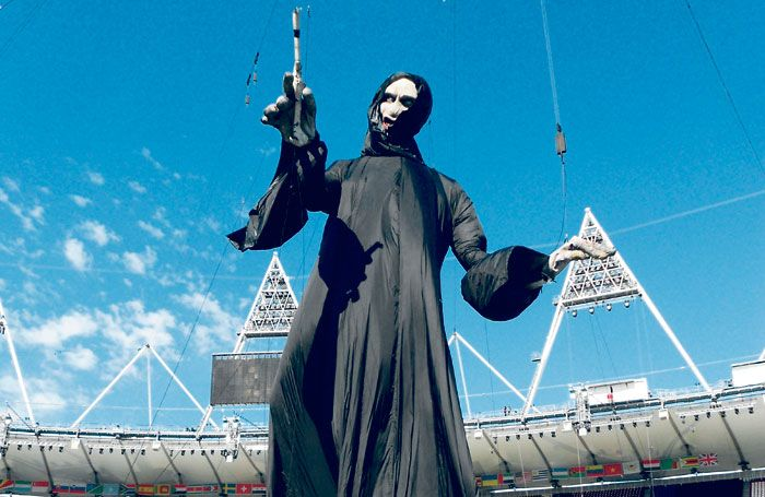 The 60ft-high puppet of Voldemort during a rehearsal for the opening ceremony of the London 2012 Olympics