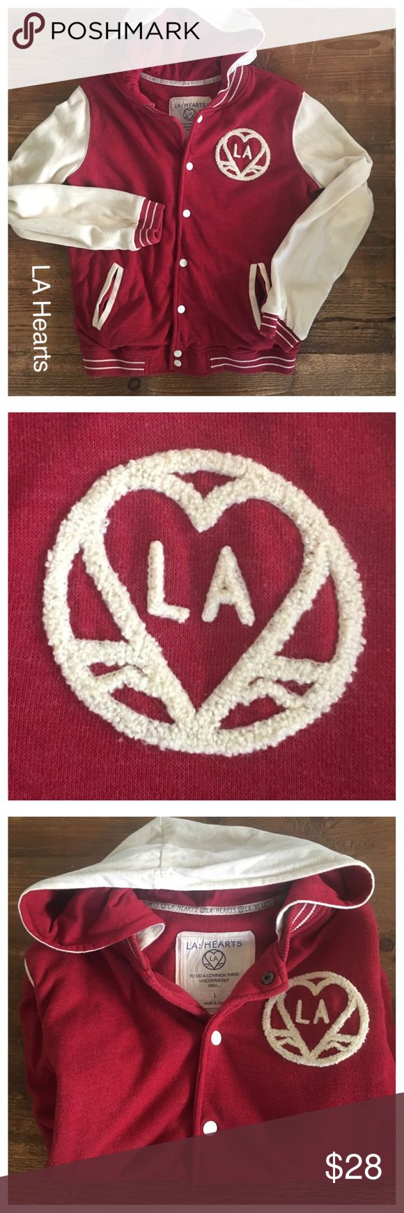 LA Hearts PACSUN cherry bomber heart hoodie Cozy and warm in a rich vibrant cherry with vanilla trim and fuzzy script. In excellent condition, worn only 3-4 x's (tiny minor imperfection on top of left shoulder, tiny thread bump)! From PACSUN    I love to BUNDLE your likes to save you money! LA Hearts Jackets & Coats
