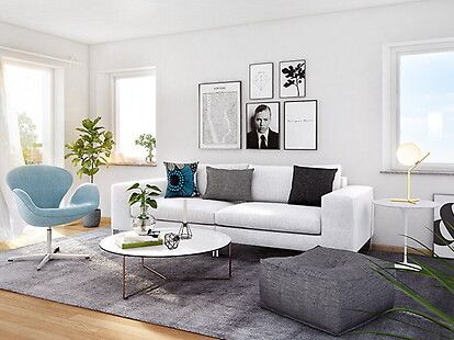 Bilder, Vardagsrum, Grå, Modernt, Soffa, Vit, tavelvägg - Hemnet Inspiration