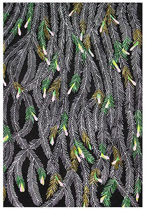 Bloeiende Sequoia Ingekleurde linosnede met applicaties en wollen borduur garens. Anneke Dekkers