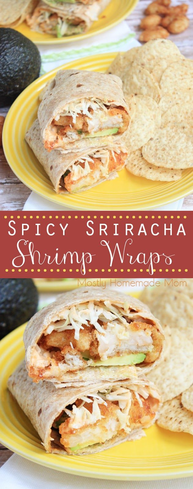 Spicy Sriracha Shrimp Wraps - Baked butterfly and popcorn shrimp with avocado and shredded cabbage, drizzled with a sriracha mayo in a multigrain wrap. The perfect way to enjoy seafood any day of the week! #ad