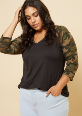 9490a53c This super soft baseball tee features colorblock camo raglan sleeves and a  V-neckline with a matching trim.