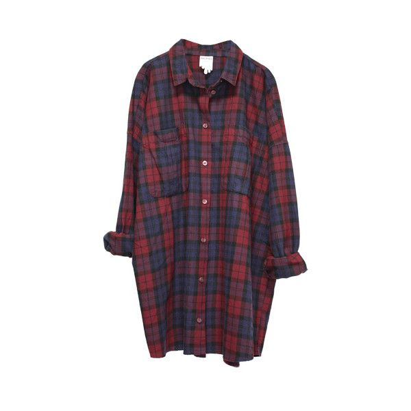 MONKI/ monkey Millie check flannel shirt (red navy) ($73) ❤ liked on Polyvore featuring tops, shirts, dresses, flannels, checked shirt, shirts & tops, navy blue tops, navy blue flannel shirt y red flannel shirt