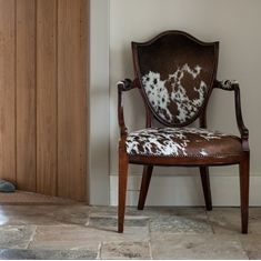 Stunning Hepplewhite style antique chair with natural cowhide from the 'Hide & Seat' collection at katiebonas.co.uk