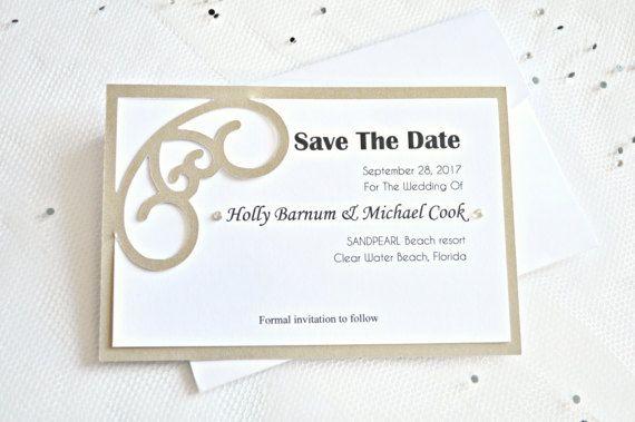 Bronze paper cut wedding save the date by JasmineWeddingPrints