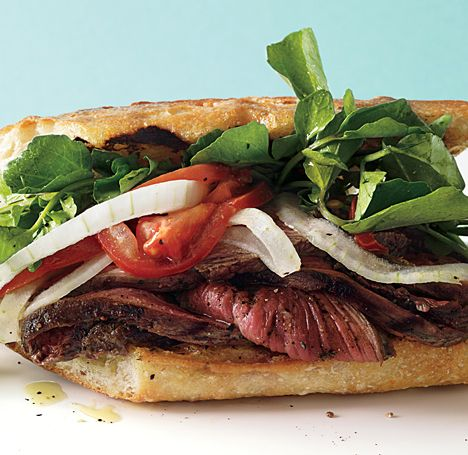 Grilled Steak Sandwiches with Marinated Watercress, Onion, and Tomato Salad: Onions, Steak Sandwiches, Salad Recipes, Tomatoes Salad, Grilled Steaks, Food, Summer Night, Steaks Sandwiches, Marines Watercress