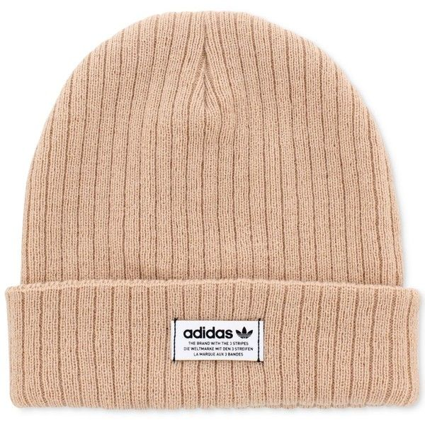 adidas Wide-Ribbed Beanie (499.865 VND) ❤ liked on Polyvore featuring accessories, hats, rosette pink, pink hats, knit beanie hat, beanie caps, logo beanie hats and pink knit hat