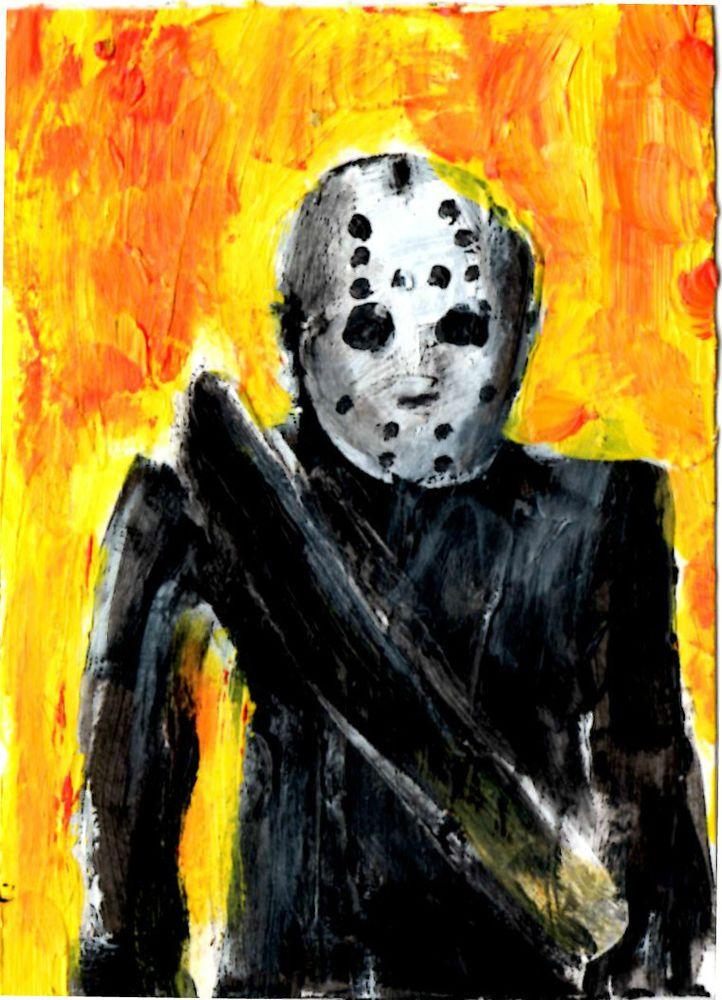 """JASON VOORHEES""  horror art. original    ,ACEO  jack larson 3.5""x2.5"" #Abstract"