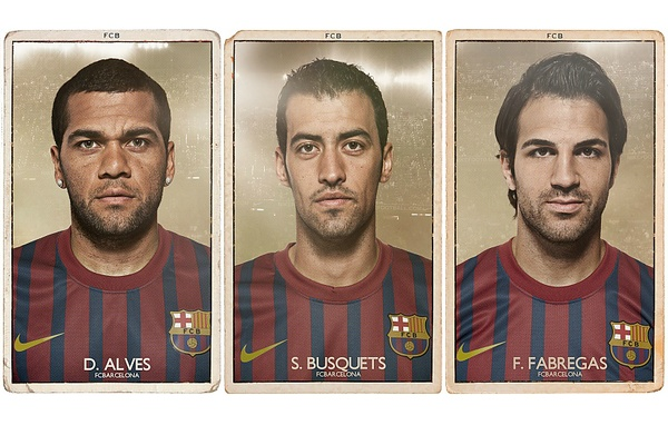 London-based Diver & Aquilar hearkened back to days of yore for their series of FC Barcelona trading cards.