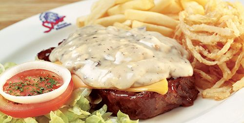 Cheddamelt Steak Steak topped with melted cheese and mushroom sauce or pepper sauce. http://www.spur.co.za/menu/steaks