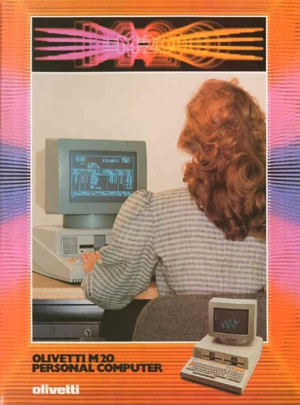 Locandina pubblicitaria per il computer Olivetti M20, il primo personal computer europeo presentato dalla Olivetti nel 1982.