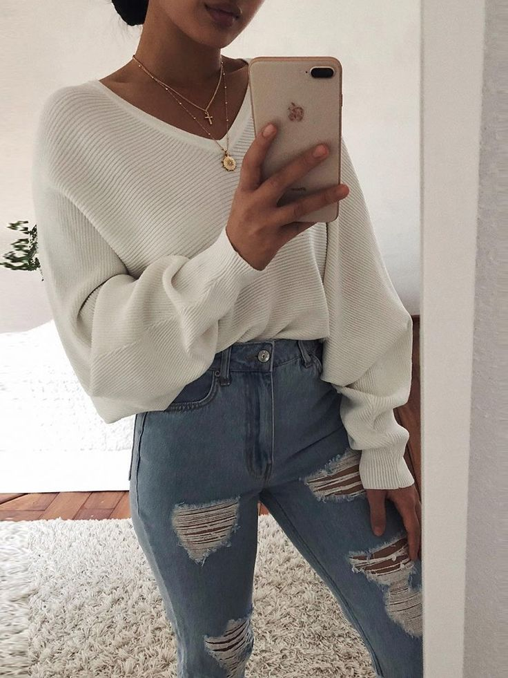 Long Puff Sleeve V-Neck Casual Sweater (S/M/L/XL) $24.99