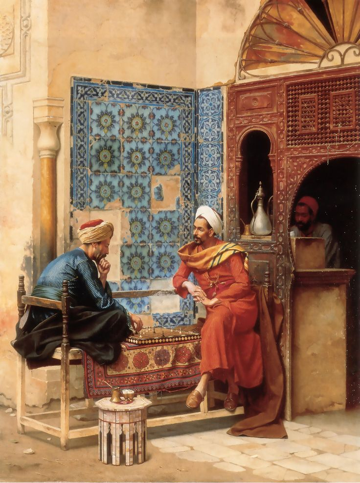 Excited to share the latest addition to my #etsy shop: Playing Chess At Old Arab Coffee House in Cairo - Arabian Art - Handmade Oil Painting On Canvas http://etsy.me/2ndXHuU #art #painting #brown #beige #oldarab #arabianart #canvaspainting #ancientegyptian #egyptianart