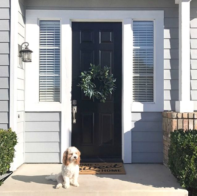 Classic Black Door Painted By Madson Goods With Modern Masters Front Door Paint In The Color Elegant Non Fad Painted Front Doors Painted Doors Modern Masters