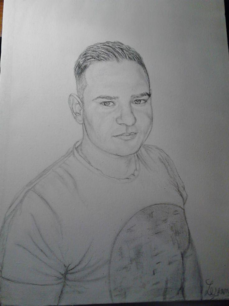 Portrait boy on canvas, graphics. /// Portret baiat,grafica pe panza.