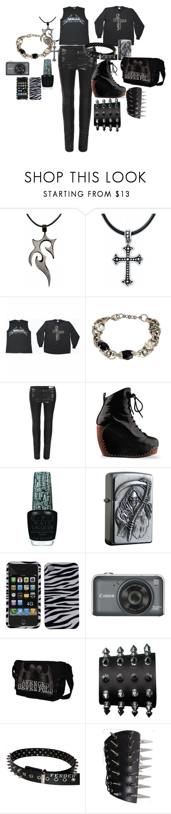 """""""Metal Madness"""" by txtt ❤ liked on Polyvore featuring Sorrelli, AllSaints, Irregular Choice, OPI, metal, spikes and black"""