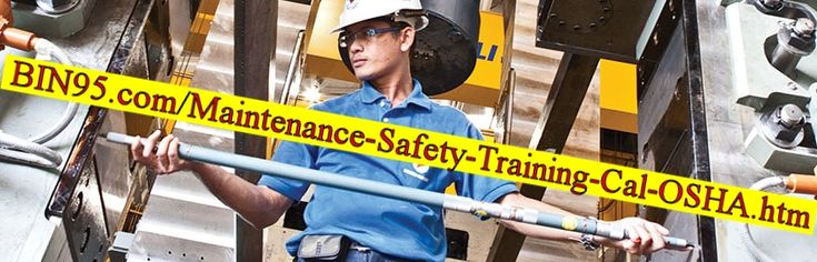 This Maintenance Safety Training Programs (Cal OSHA) article ( https://bin95.com/maintenance-safety-training-cal-osha.htm ) is a safety maintenance checklist based on California OSHA standards, but can be applied anywhere. Included is the maintenance safety program PDF, so you can share at your safety meeting. As maintenance occupational safety is sometimes lacking.