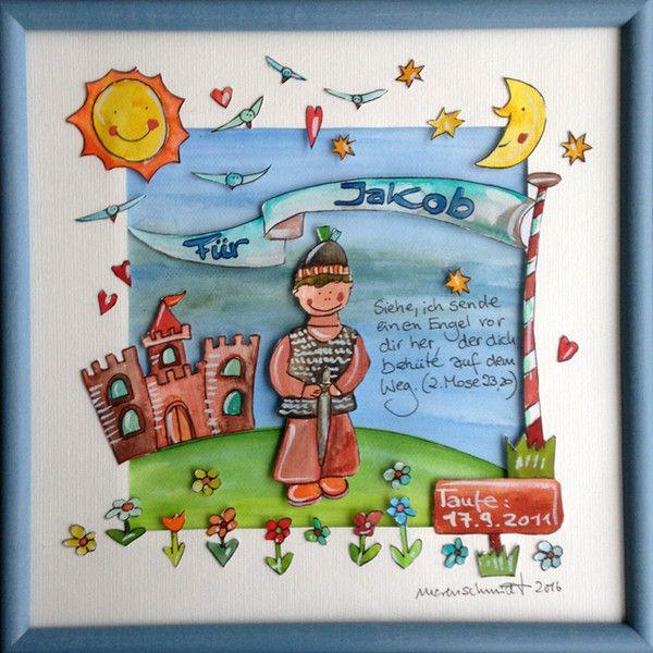 Kinderzimmerdekoration - Geschenk zur Taufe - Taufgeschenk - Namensbild - ein Designerstück von marenschmidt bei DaWanda