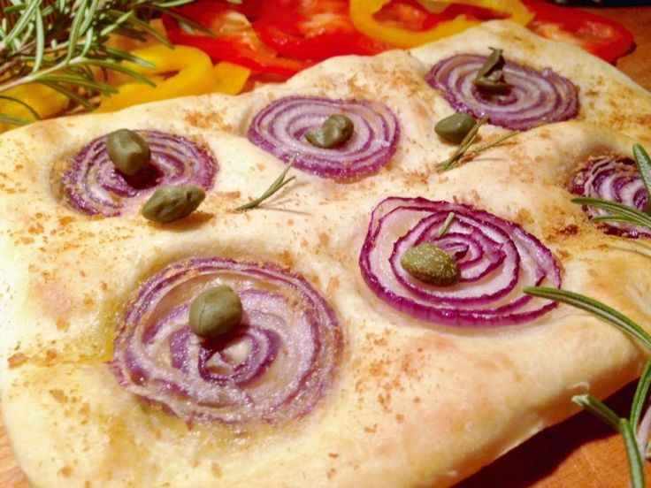 Focaccia made with red Tropea onions and capers...red tropea onion..Its extraordinary sweetness, its delicate scent, its lightness and enjoyable taste come