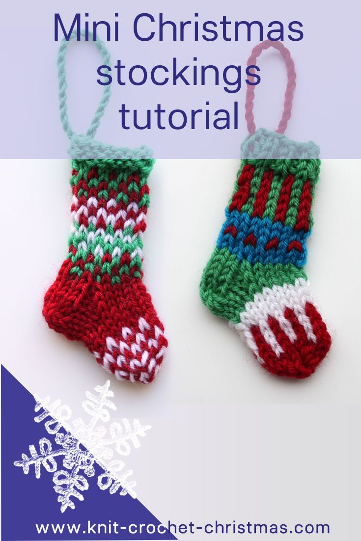 Mini Christmas stockings pattern. Videotutorials.