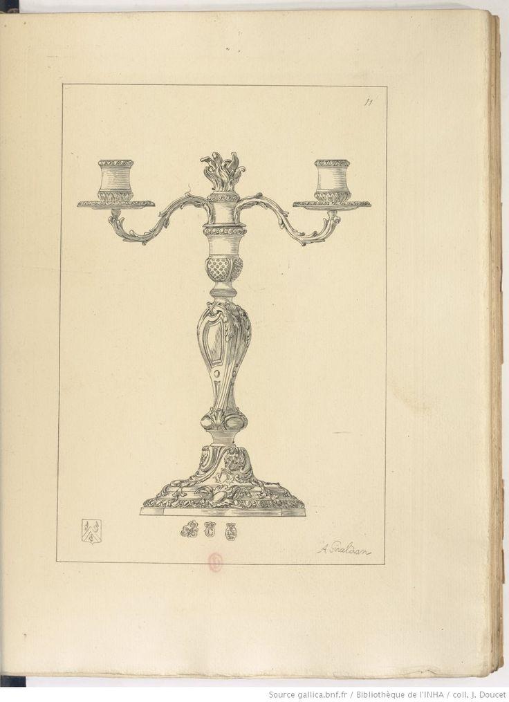 """Tripartite rocaille avec bouquet de lumière décoré d'un pot à feu. Paul Eudel dit """"candélabre à trois lumières ou girandole"""". 1743. M.O. Louis Regnard. Collection Paul Eudel."""