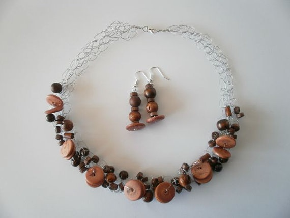 Wooden Bead Necklace & Earrings by JoTheGreek on Etsy.