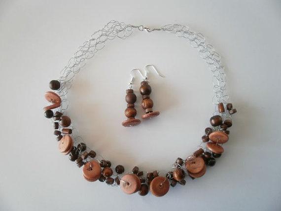 Wooden Bead Necklace & Earrings by JoTheGreek on Etsy.