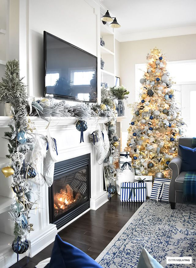Blue And White Christmas Living Room Citrineliving Christmas House Lights Christmas Decorations Living Room Blue Christmas Lights