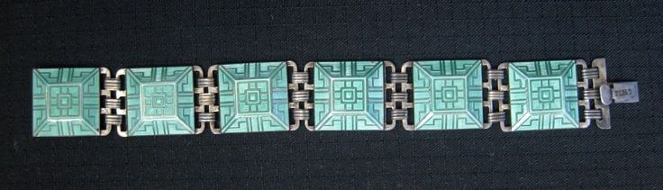 Vintage J. Tostrup of Norway Sterling Enamel ART DECO Style Bracelet