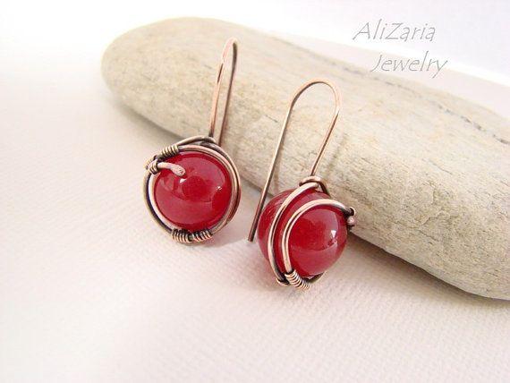 Red Planet Earrings Red Jade Copper Wire by AliZariaJewelry