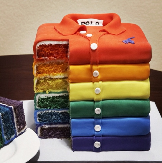 #FathersDay #Cake Brilliant! #Rainbow Stack of polo shirts!