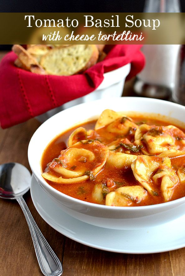 15 Minute Tomato Basil Soup with Cheese Tortellini  | iowagirleats.com
