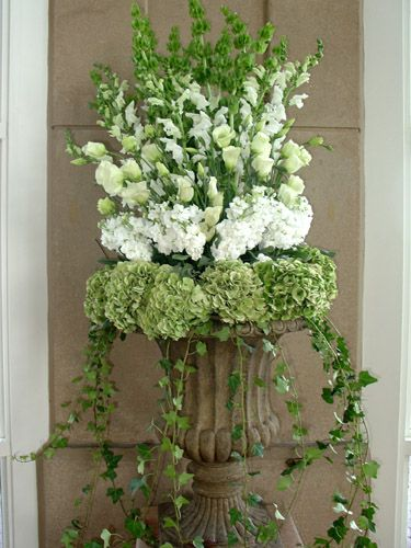 beautiful urn arrangement with green & white