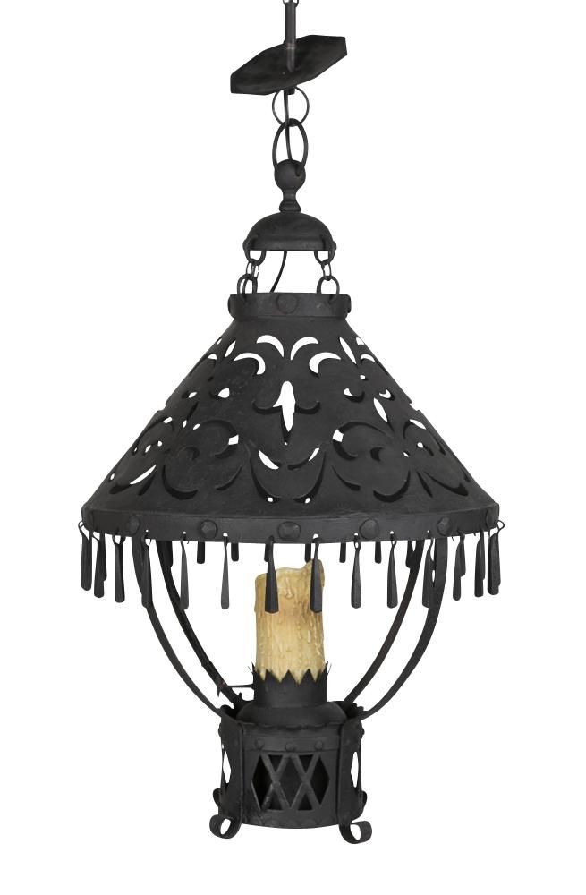 An Arts & Crafts hand wrought iron hanging lantern, the pierced umbrella shaped shade decorated with drop-out Fleurs-de-Lis, having iron drops supported by 4 connecting straps to an oil reservoir fitted as a candle holder, surmounted by a smoke cap with ring holder.  Co-ordinating chain & canopy included.