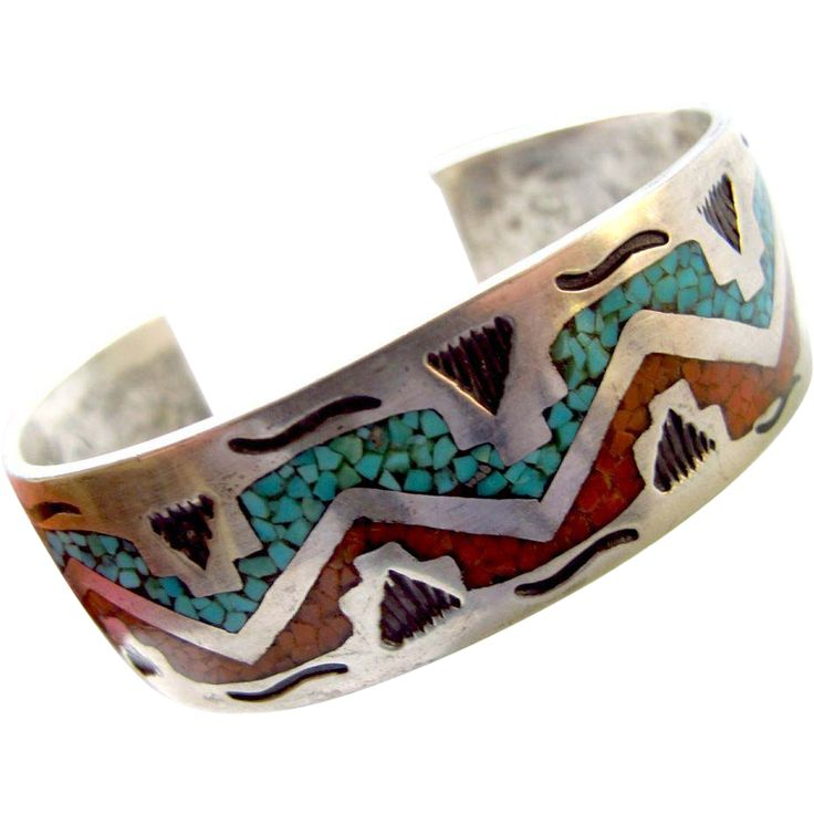 Navajo William Singer Inlaid Turquoise and Coral Silver Cuff
